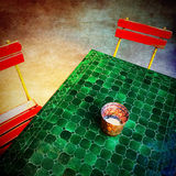 Green vintage table and chairs royalty free stock photos
