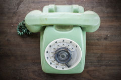Green vintage telephone Stock Photo