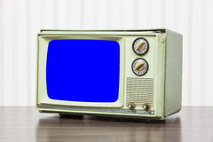 Green Vintage Television with Chroma Key Blue Screen Cut Out Stock Photography
