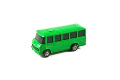 Green  vintage toy bus Stock Images