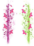 Green and violet floral ornament Royalty Free Stock Image