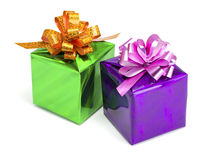 Green and violet gift boxes Royalty Free Stock Images