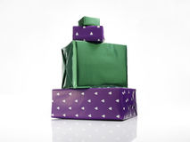 Green and violet gifts Royalty Free Stock Photos