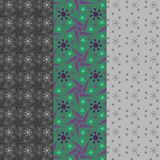 Green, violet and grey stars in a set of three seamless patterns. Vector seamless pattern of stars. a set of three patterns of geometric stars colored in green Stock Image