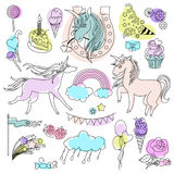 Green, violet and pink unicorns with sweets on a white background. Hand-drawn elements rainbow, unicorn, cloud, cake, sweets, flower, strawberry, ice-cream Royalty Free Stock Image