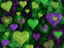 Green and Violet Valentine Hearts Royalty Free Stock Photography