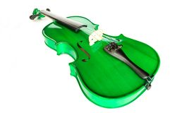 Green violin. Against white background royalty free stock photos