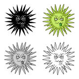 Green virus icon in cartoon style isolated on white background. Viruses and bacteries symbol stock vector illustration. Royalty Free Stock Photography