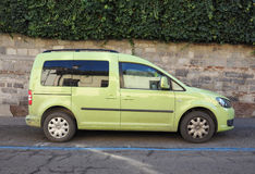 Green Volkswagen Caddy TDI car in Turin Royalty Free Stock Photos