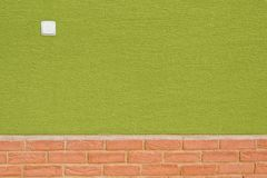 Green wall with bricks on bottom and white switch Stock Photography