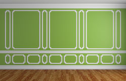 Green wall in classic style empty room architectural background Stock Photography