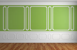Green wall in classic style empty room architectural background Stock Photo
