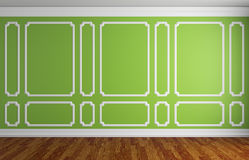 Green wall in classic style room. Simple classic style interior illustration - green wall with white decorative frame on the wall in classic style empty room Stock Photos