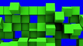 Green Wall of cubes falls apart. Blocks are moving out of flat surface and fall revealing the blue screen. Abstract transition, 3D animated intro with chroma vector illustration