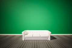 Green wall and dark wood floor, with white sofa, 3d renderd Stock Photos