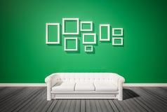 Green wall and dark wood floor Royalty Free Stock Photos