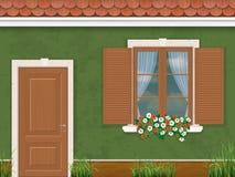 Green wall door and window Stock Image