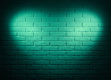 Green wall with heart shape light effect and shadow, abstract background photo Stock Image