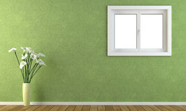 Green wall with a window Stock Images