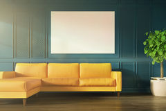 Green wall, yellow sofa, poster toned. Green living room or and office waiting room interior with a yellow sofa, a potted tree and a horizontal poster. 3d Stock Photo