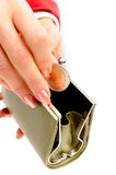 Green wallet and coin in woman hand Stock Photography