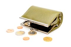 Green wallet and coins Stock Photos