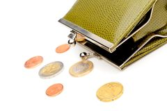 Green wallet and coins Royalty Free Stock Photos