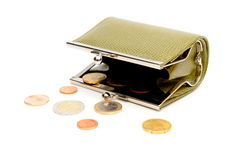 Green wallet and coins Stock Photo