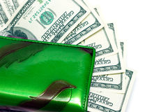 Green wallet with money Royalty Free Stock Images
