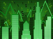 Green wallstreet finance chart. Bar chart composed of stylized buildings implying financial boom Royalty Free Stock Images