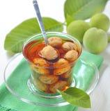 Green walnut jam Royalty Free Stock Photos
