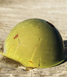 Green war helmet Stock Photo