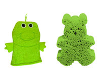 Green Wascloth and Wash sponge Royalty Free Stock Photography