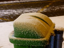 Green waste bin in the snow Stock Photography
