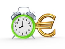 Green watch and sign of euro. Royalty Free Stock Photos