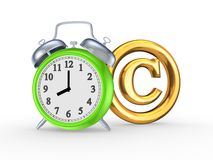 Green watch and symbol of copyright. Isolated on white.3d rendered stock photography