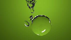 Green water ball. On green background. 3d illustration royalty free illustration