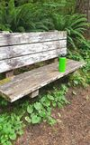 Water bottle on bench on trail. A green water bottle left on a wooden bench at a hiker's trail stock images