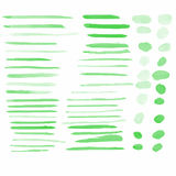 Green water color brushes set vector illustrations Stock Photos