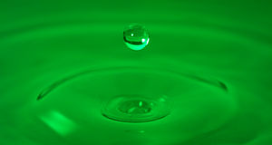 Green Water Drop Frozen in Time. Drop of water captured with high speed macro photo with - Green gel filter- Shallow depth of field - Horizontal royalty free stock image