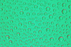 Green Water drops background macro Stock Photo