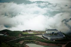 Some ancient villages in Anhui, China, are no longer occupied. They are empty houses. Between the green water and the green hills, in the misty mountains, these stock images
