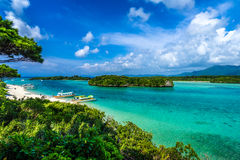 Green water at Kabira lagoon in island of paradise Stock Photos