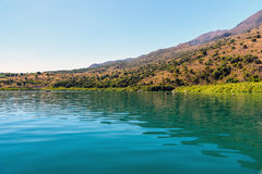 Green water of Kournas lake at Crete island, Greece Stock Image