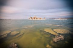 The green water of Mono Lake California. This picture shows The green water of Mono Lake California stock images