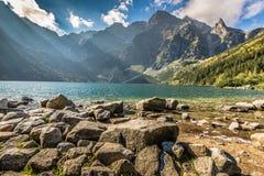 Green water mountain lake Morskie Oko, Tatra Mountains, Poland Stock Photo