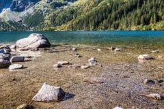 Green water mountain lake Morskie Oko, Tatra Mountains, Poland Stock Image