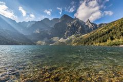 Green water mountain lake Morskie Oko, Tatra Mountains, Poland Stock Photo