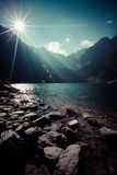Green water mountain lake Morskie Oko, Tatra Mountains, Poland Royalty Free Stock Photography