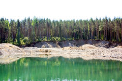 Green water of an open-cast mine Royalty Free Stock Photo
